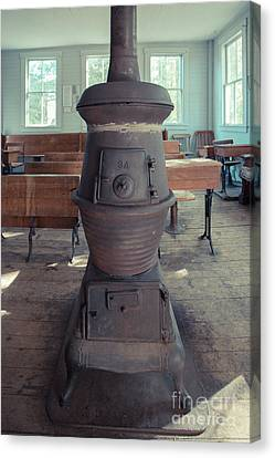 School Houses Canvas Print - Wood Stove In An Old One Room School House by Edward Fielding
