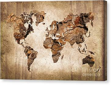 Wood World Map Canvas Print by Delphimages Photo Creations