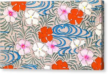 Woodblock Print Of Carnation Flowers Canvas Print by Japanese School