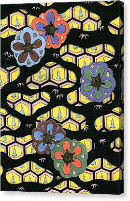 Woodblock Print Of Honeycomb Pattern Canvas Print by Japanese School