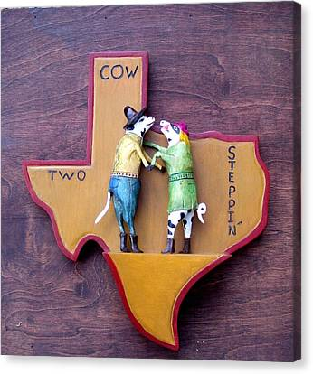 Woodcrafted 2 Cow Steppin' Canvas Print by Michael Pasko