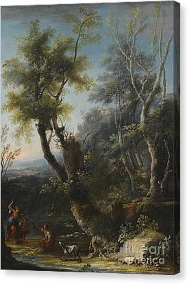 Wooded Landscape With Figures And A Dog Canvas Print by MotionAge Designs