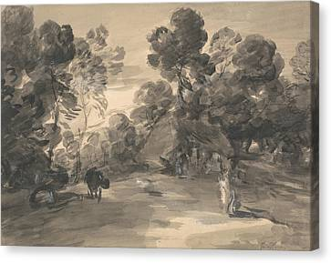 Cottages Canvas Print - Wooded Landscape With Figures, Cottage And Cow by Thomas Gainsborough