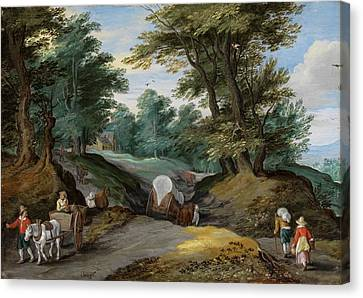 Wooded Landscape With Horses Carts And To The Market Attracting Farmers Canvas Print by Jan Brueghel the Younger