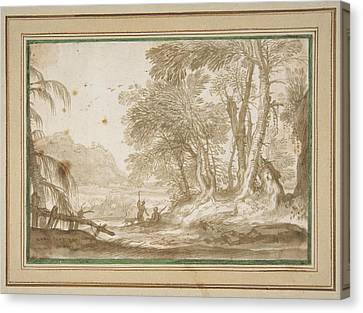 Wooded Landscape With Two Figures Canvas Print by MotionAge Designs