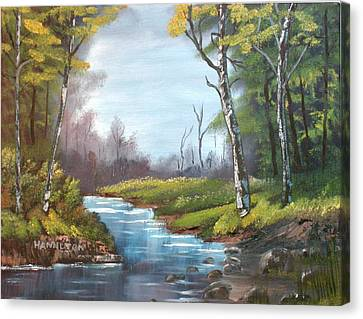 Wooded Stream Canvas Print by Larry Hamilton