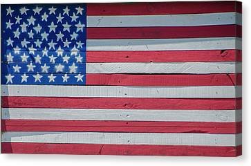 Canvas Print featuring the photograph Wooden American Flag by Bill Cannon
