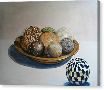 Wooden Bowl With Spheres Canvas Print by Yvonne Ayoub