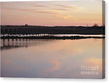Wooden Bridge And Twilight Canvas Print by Angelo DeVal