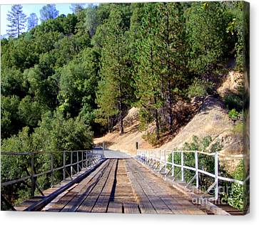 Wooden Bridge Over Deep Gorge Canvas Print by Mary Deal