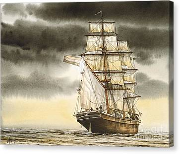 Tall Ship Image Canvas Print - Wooden Brig Under Sail by James Williamson