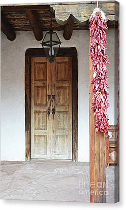 Canvas Print featuring the photograph Wooden Chili Door by Andrea Hazel Ihlefeld