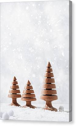 Snow Scene Canvas Print - Wooden Christmas Tree Decorations by Amanda Elwell