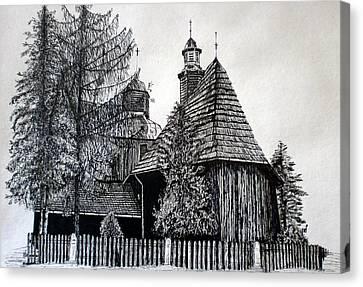 Wooden Church Canvas Print by Maria Woithofer