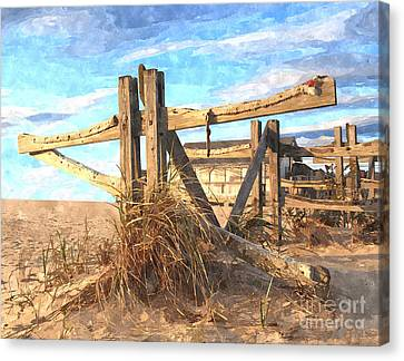 Wooden Cross Falmouth Beach Canvas Print by Bryan Attewell