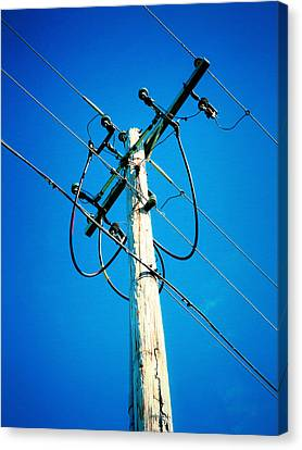 Wooden Electric Pole Canvas Print by Lanjee Chee