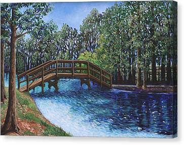 Wooden Foot Bridge At The Park Canvas Print by Penny Birch-Williams