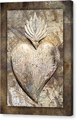 Wooden Heart Canvas Print by Carol Leigh