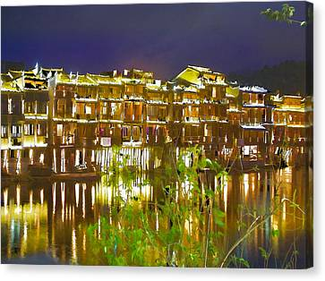 Bamboo House Canvas Print - Wooden Houses 1 by Lanjee Chee