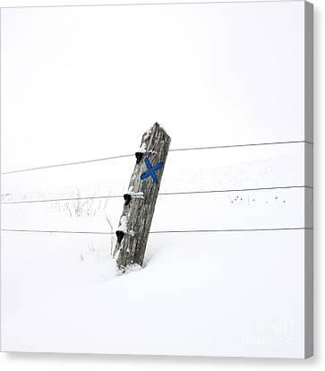 Wooden Post In Winter Canvas Print by Bernard Jaubert