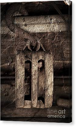 Wooden Pulley Canvas Print by Pete Hellmann
