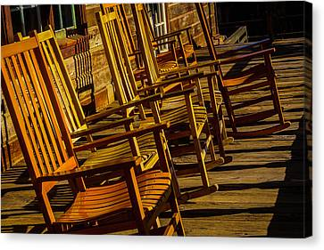 Wooden Wagons Canvas Print - Wooden Rocking Chairs by Garry Gay