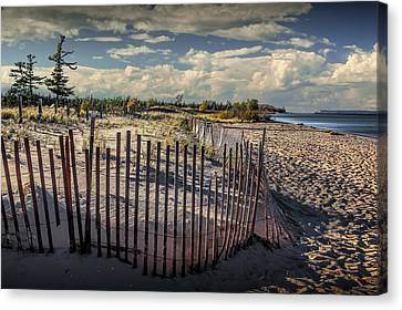 Wooden Sand Fence On The Beach At Glen Haven Michigan Canvas Print by Randall Nyhof