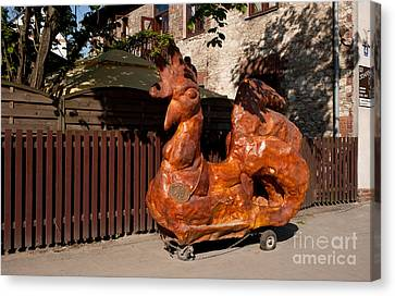 Wooden Sculpture Of Legendary Rooster Canvas Print