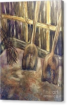 Wooden Shovels N Stick Bundle Still Life  Canvas Print by Ellen Levinson