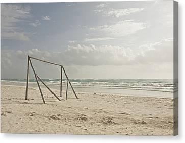 Wooden Soccer Net On Beach Canvas Print by Bailey