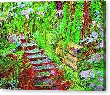 Canvas Print featuring the digital art Wooden Steps Through The Forest - Tamalpais California by Joel Bruce Wallach