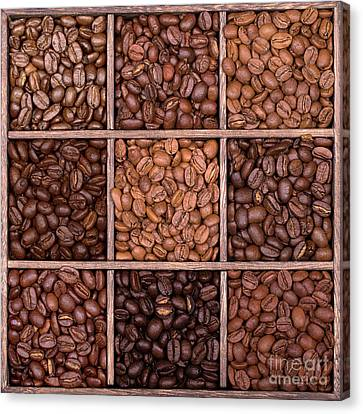 Wooden Storage Box Filled With Coffee Beans Canvas Print