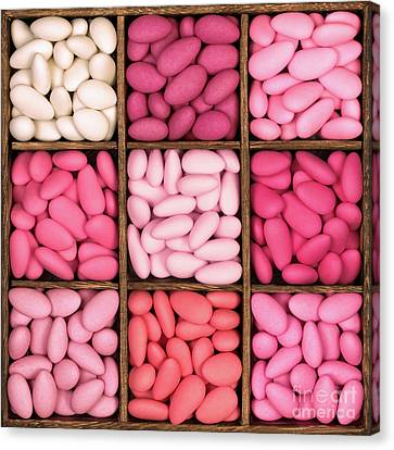 Wooden Storage Box Filled With Pink Sugared Almonds. Canvas Print by Jane Rix