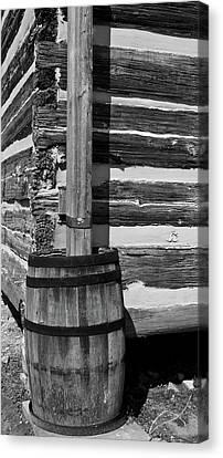 Wooden Water Barrel Canvas Print by Douglas Barnett