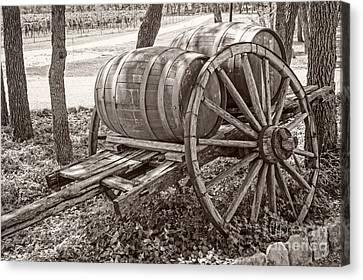Wooden Wine Barrels On Cart Canvas Print