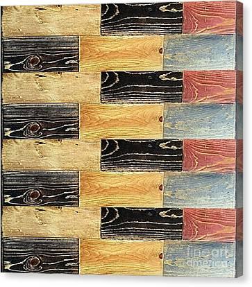 Woodgrain Art Abstract Golds Black Blues Canvas Print by Scott D Van Osdol