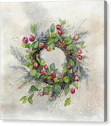 Woodland Berry Wreath Canvas Print by Colleen Taylor