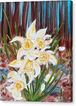Canvas Print featuring the painting Woodland Daffodils by Judith Rhue