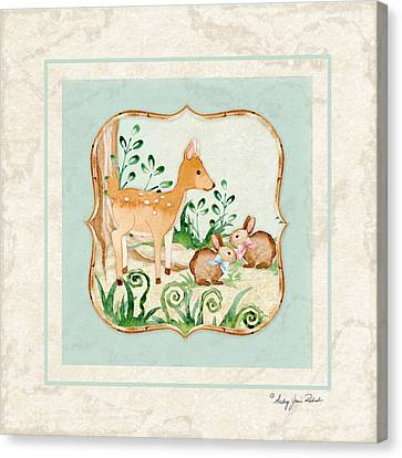Woodland Fairy Tale - Deer Fawn Baby Bunny Rabbits In Forest Canvas Print by Audrey Jeanne Roberts