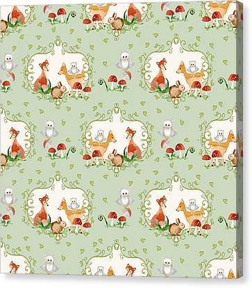 Woodland Fairy Tale - Mint Green Sweet Animals Fox Deer Rabbit Owl - Half Drop Repeat Canvas Print by Audrey Jeanne Roberts