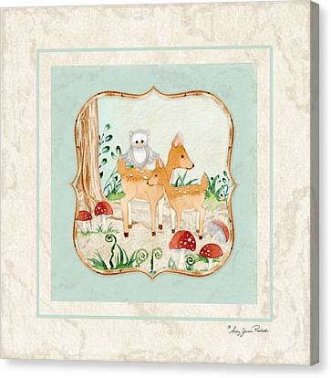 Woodland Fairy Tale - Owl On Deer Fawns Back In Forest Canvas Print by Audrey Jeanne Roberts