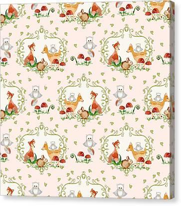Woodland Fairy Tale - Pink Sweet Animals Fox Deer Rabbit Owl - Half Drop Repeat Canvas Print by Audrey Jeanne Roberts