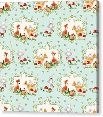 Woodland Fairy Tale - Sweet Animals Fox Deer Rabbit Owl - Half Drop Repeat Canvas Print by Audrey Jeanne Roberts