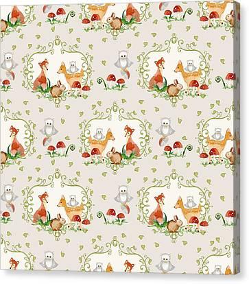 Woodland Fairy Tale -  Warm Grey Sweet Animals Fox Deer Rabbit Owl - Half Drop Repeat Canvas Print by Audrey Jeanne Roberts