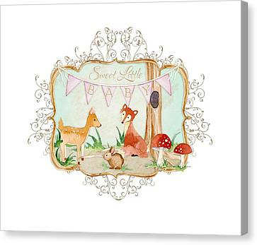 Woodland Fairytale - Banner Sweet Little Baby Canvas Print by Audrey Jeanne Roberts
