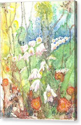 Canvas Print featuring the painting Woodland Garden by Renate Nadi Wesley