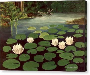 Woodland Hidden Pond Canvas Print by Fred Jinkins