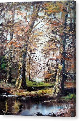 Canvas Print featuring the painting Woodland Pond  by Lee Piper
