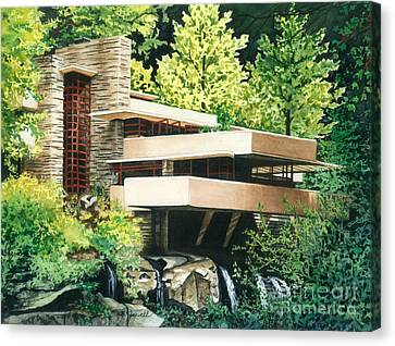 Canvas Print featuring the painting Fallingwater-a Woodland Retreat By Frank Lloyd Wright by Barbara Jewell