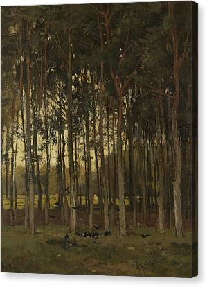 Woodland Scene Canvas Print by Theophile de Bock